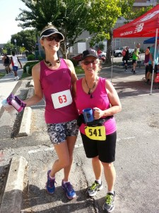 Me with my running and accountability partner Andrea after the 2015 Trispan Race